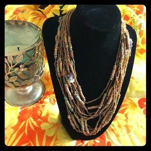 Jewelry - NWT Lovely Glass bone stone 12 layers necklace